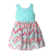 Pinky Lace Floral Chevron Dress – Toddler Girls 2t-4t