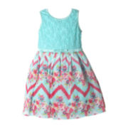 Pinky Lace Floral Chevron Dress - Preschool Girls 4-6x