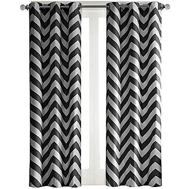 Pisces Chevron Grommet Top Curtain Panel Pair