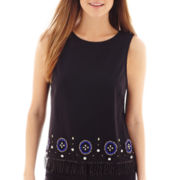 nicole by Nicole Miller® Sleeves Beaded Fringe Top
