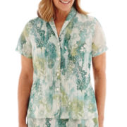 Alfred Dunner® Sweet Melody Short-Sleeve Paisley Blouse
