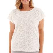 Alfred Dunner® St. Maarten Short-Sleeve Lace-Front Knit Top