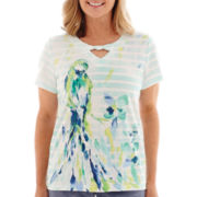 Alfred Dunner® St. Maarten Short-Sleeve Striped Parrot Top