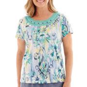 Alfred Dunner® St. Maarten Short-Sleeve Floral Ikat Print Top