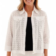 Alfred Dunner® Morocco 3/4-Sleeve Eyelet Jacket
