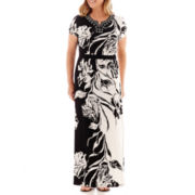Alfred Dunner® Morocco Short-Sleeve Etched Floral Maxi Dress