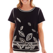 Alfred Dunner® Morocco Short-Sleeve Embroidered Leaf Knit Top
