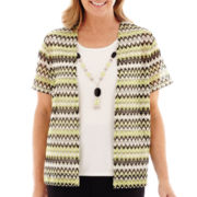 Alfred Dunner® Morocco Short-Sleeve Textured Layered Top with Necklace