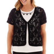 Alfred Dunner® Morocco Short-Sleeve Crochet Layered Sweater