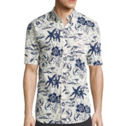 St. John's Bay® Short-Sleeve Tropical Crosshatch Woven Shirt