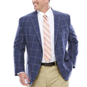 Stafford® Linen Cotton Windowpane Jacket - Big & Tall
