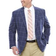 Stafford® Linen Cotton Windowpane Jacket - Big & Tall