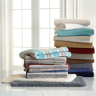 Jcpenney Home Farmhouse Stripe And Quick Dri Bath Towel Rug Collection