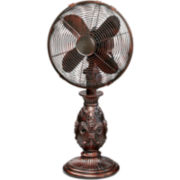 "Deco Breeze 10"" Fleur De Lis Copper Table Fan"