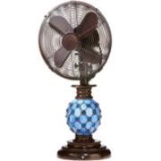 """Deco Breeze 10"""" Mosaic Glass Azure Table Fan"""