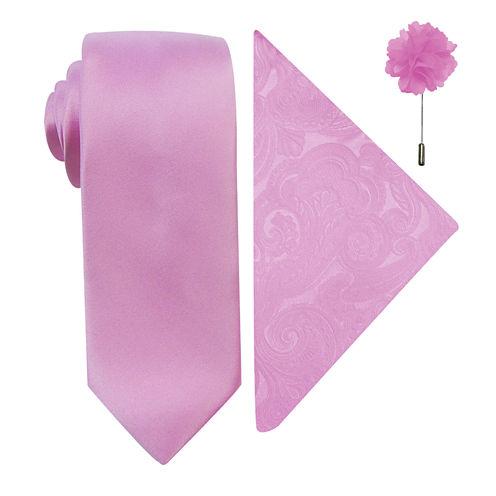 JF J. Ferrar® Solid Tie, Pocket Square and Lapel Pin Set