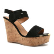 Qupid Kelsey Sling Wedge Sandals
