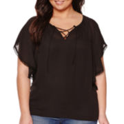 a.n.a® Flutter-Sleeve Tie-Neck Peasant Top - Plus