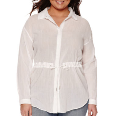 jcpenney.com | a.n.a® Long-Sleeve Cinch-Waist Blouse - Plus