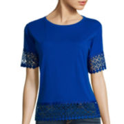 Stylus™ Short-Sleeve Crochet Trim Tee