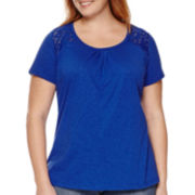 St. John's Bay® Short-Sleeve Lace Shoulder Tee - Plus