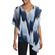 Alyx® Short-Sleeve V-Neck Top with Necklace