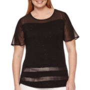 Worthington® Short-Sleeve Embellished Tee - Plus