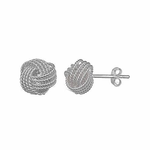 Sterling Silver Rope Love Knot Stud Earrings