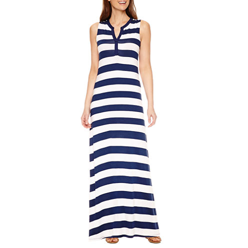 St. John's Bay Sleeveless Stripe Maxi Dress
