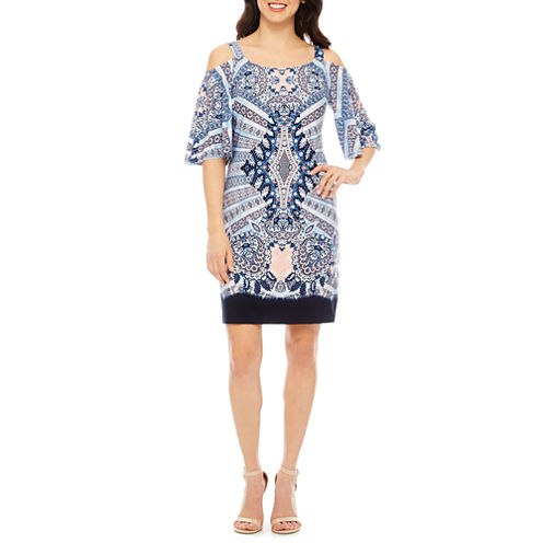 Robbie Bee 3/4 Sleeve Shift Dress-Petites