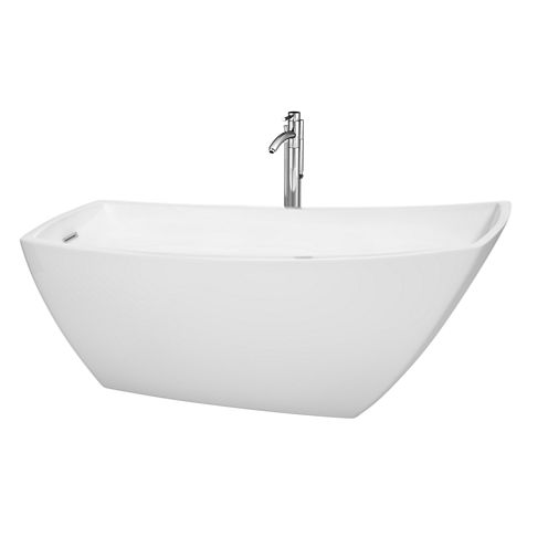 Wyndham Collection Antigua 67 inch Freestanding Bathtub in White with Floor Mounted Faucet