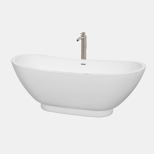 Wyndham Collection Clara 69 inch Freestanding Bathtub in White with Floor Mounted Faucet