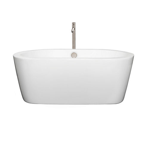 Wyndham Collection Mermaid 60 inch Freestanding Bathtub in White with Floor Mounted Faucet