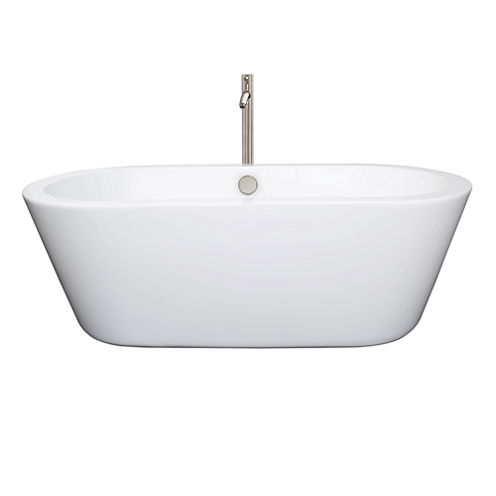 Wyndham Collection Mermaid 67 inch Freestanding Bathtub in White with Floor Mounted Faucet