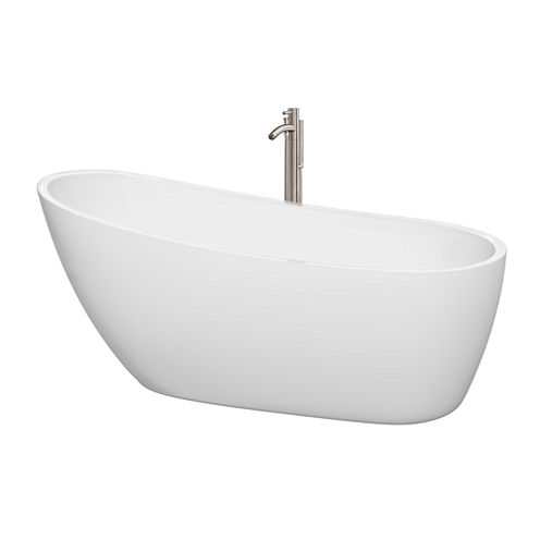 Wyndham Collection Florence 68 inch Freestanding Bathtub in White with Floor Mounted Faucet