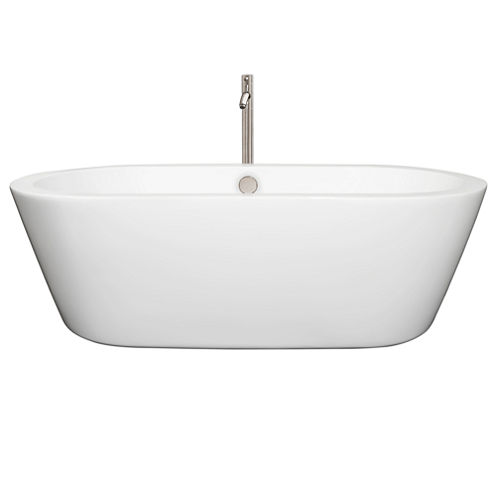 Wyndham Collection Mermaid 71 inch Freestanding Bathtub in White with Floor Mounted Faucet
