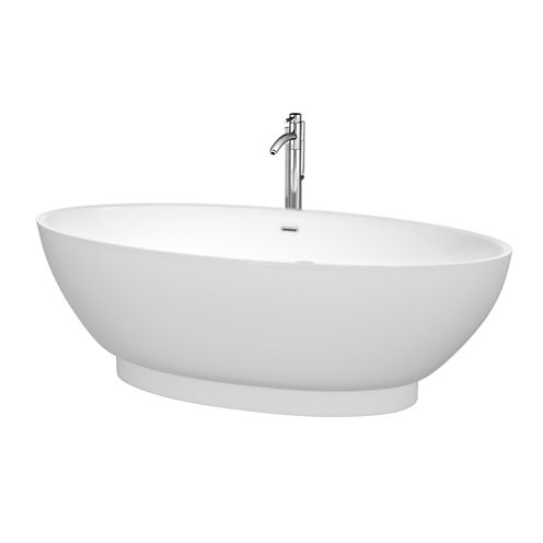 Wyndham Collection Helen 70 inch Freestanding Bathtub in White with Floor Mounted Faucet