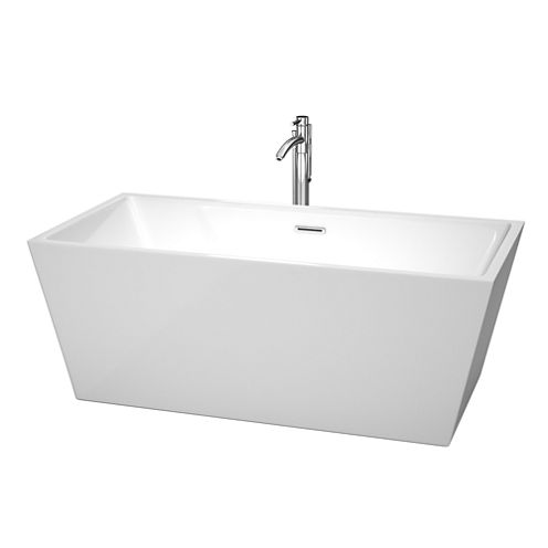 Wyndham Collection Sara 63 inch Freestanding Bathtub in White with Floor Mounted Faucet