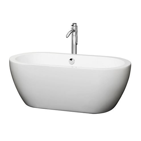 Wyndham Collection Soho 60 inch Freestanding Bathtub in White with Floor Mounted Faucet