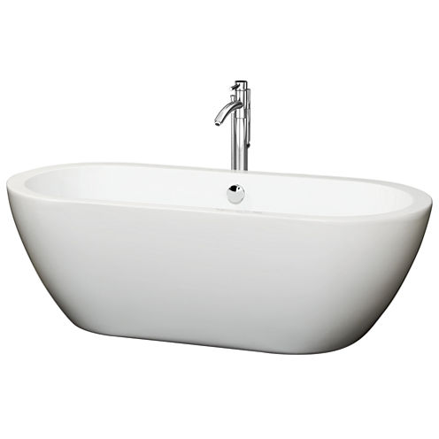 Wyndham Collection Soho 68 inch Freestanding Bathtub in White with Floor Mounted Faucet