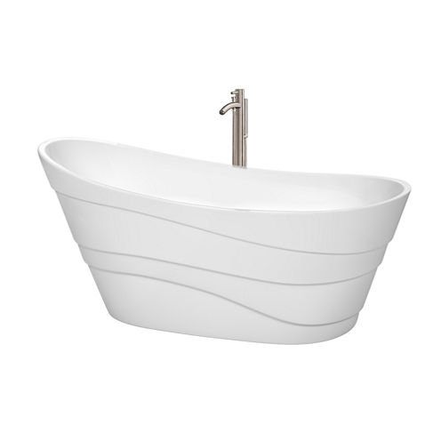 Wyndham Collection Kari 67 inch Freestanding Bathtub in White with Floor Mounted Faucet