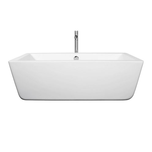 Wyndham Collection Laura 59 inch Freestanding Bathtub in White with Floor Mounted Faucet