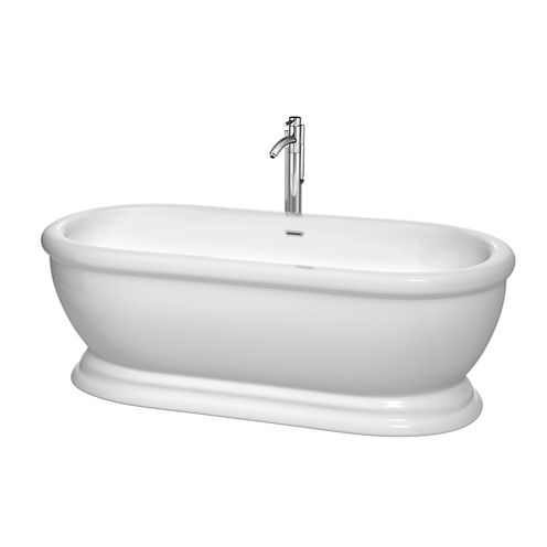 Wyndham Collection Mary 68 inch Freestanding Bathtub in White with Floor Mounted Faucet