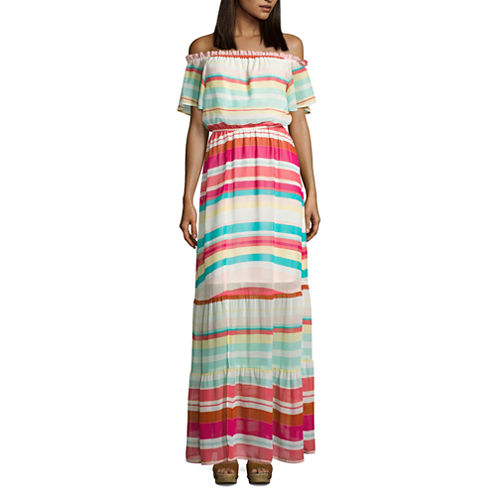 Belle + Sky Off The Shoulder Tier Maxi Dress