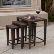 Set of 3 Outdoor Wicker Nesting Tables