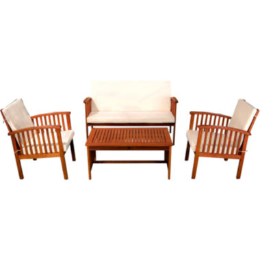 jcpenney.com | Carolina 4-pc. Outdoor Wood Lounge Sofa Set with Cushions