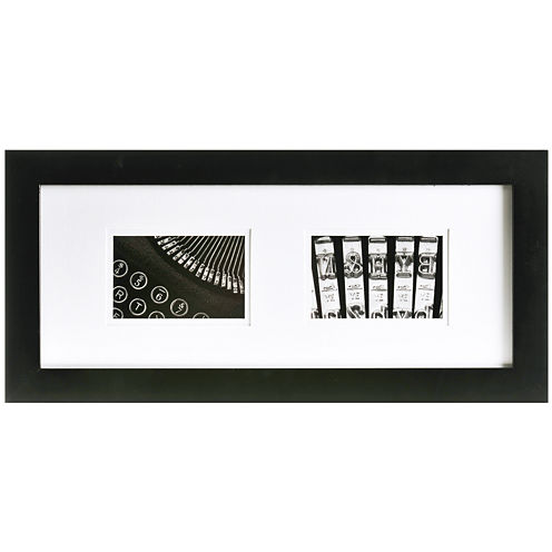 """Gallery Solutions Matted 2-Opening 4x6"""" Collage Picture Frame"""
