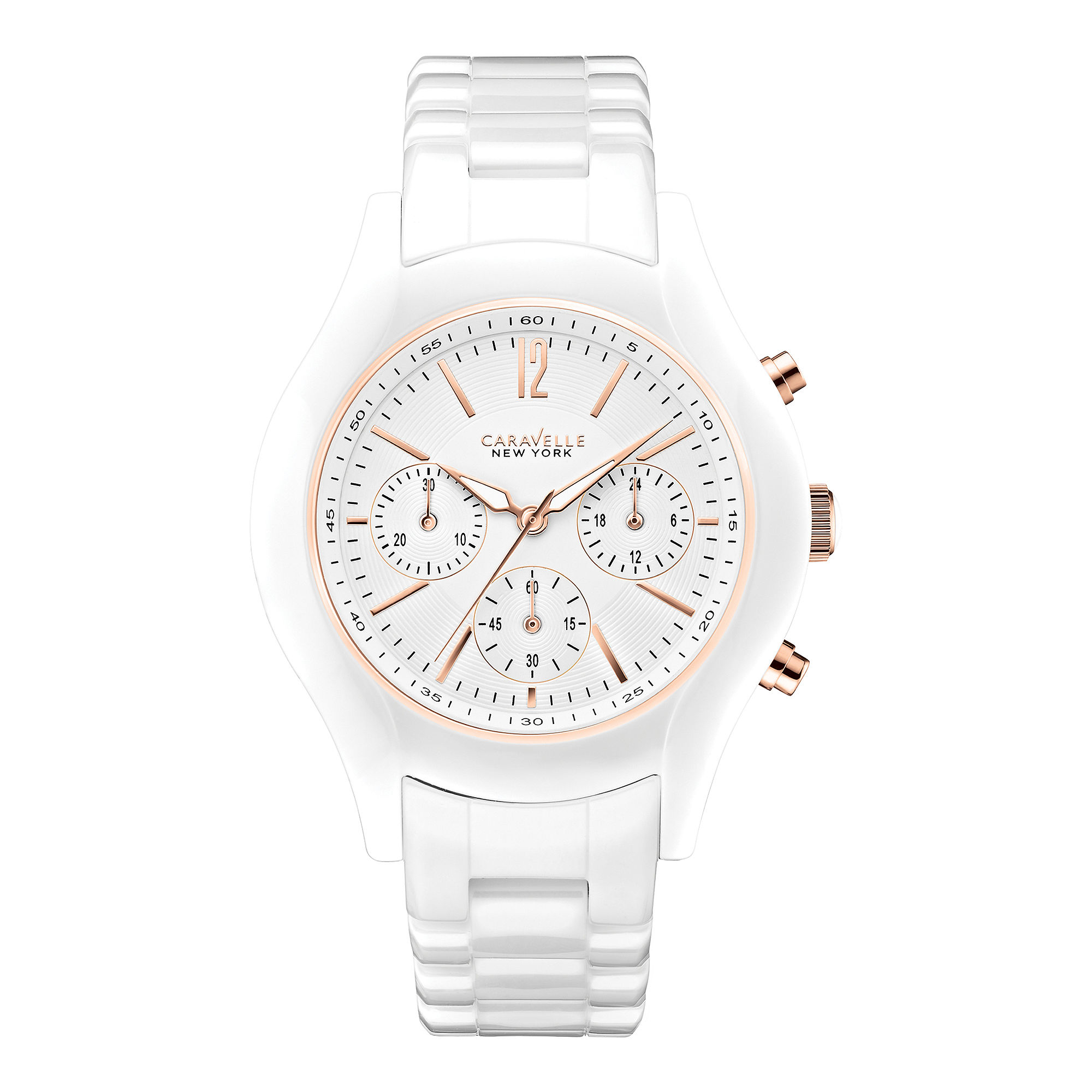 Caravelle New York Womens White Dial Chronograph Watch 45L144