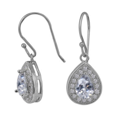 jcpenney.com | Sparkle Allure™ Cubic Zirconia Silver-Plated Teardrop Earrings
