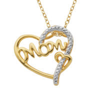 Diamond-Accent 18K Gold-Plated Mom Heart Pendant